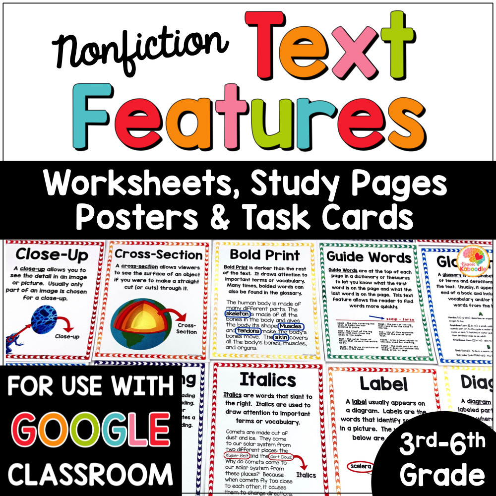 hight resolution of Nonfiction Text Features Posters