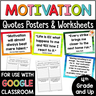 Motivation Quotes and Worksheets Activities COVER