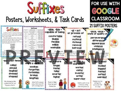 Suffixes Posters, Task Cards, and Worksheets PREVIEW