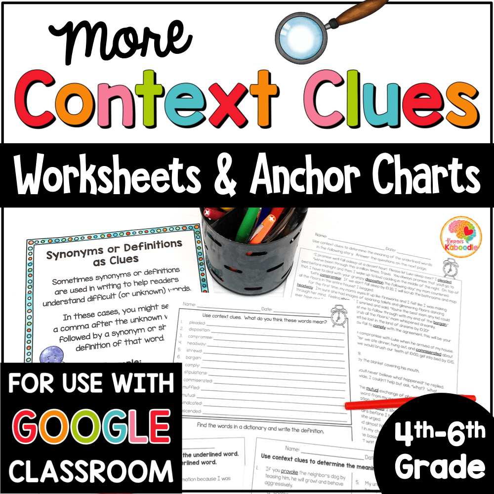 medium resolution of Context Clues Printables and Anchor Charts for 4th-6th Grade