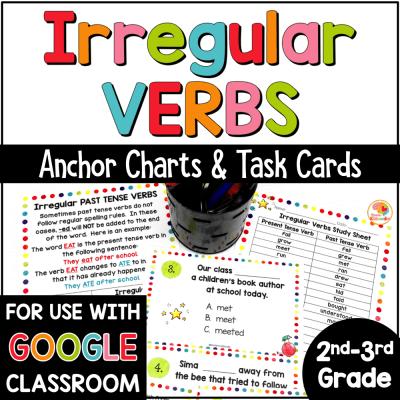 Irregular Verbs Task Cards and Anchor Charts COVER