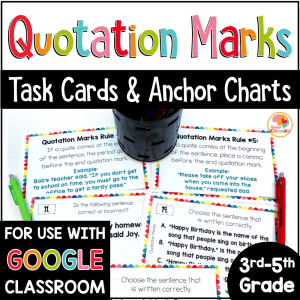Quotation Marks Activities Task Cards with Digital Option COVER