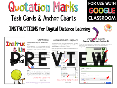 Quotation Marks Activities Task Cards with Digital Option PREVIEW