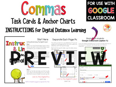 Commas Activities and Task Cards PREVIEW