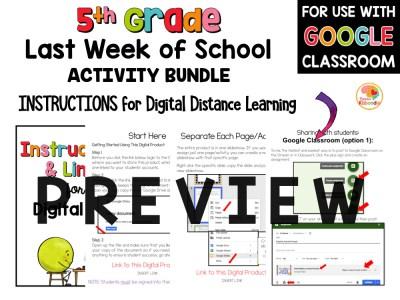 Last Week of School Activities for 5th Grade PREVIEW