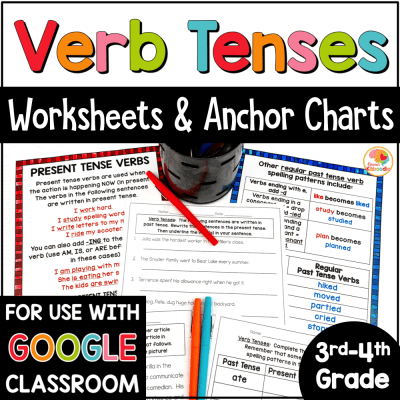 Verb Tenses Worksheets and Anchor Charts COVER