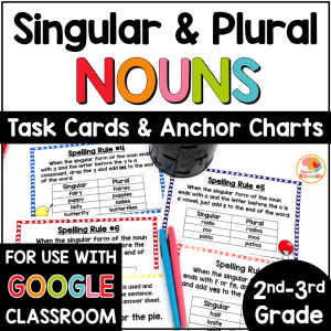 Singular and Plural Nouns Task Cards and Anchor Charts COVER