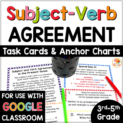 Subject Verb Agreement Anchor Charts and Task Card Activities COVER