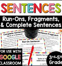 Fragment and Run-on Sentences Task Cards and Anchor Charts [ 1000 x 1000 Pixel ]