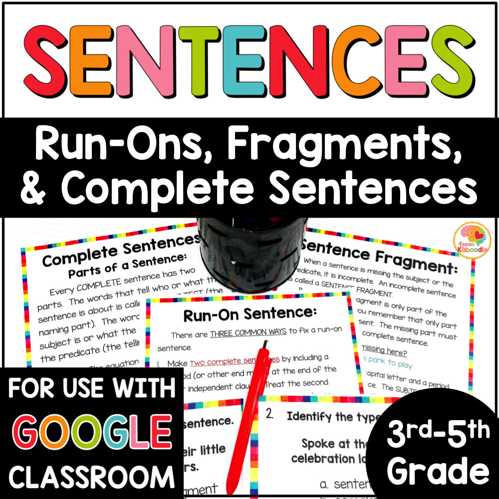 hight resolution of Fragment and Run-on Sentences Task Cards and Anchor Charts
