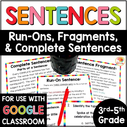small resolution of Fragment and Run-on Sentences Task Cards and Anchor Charts