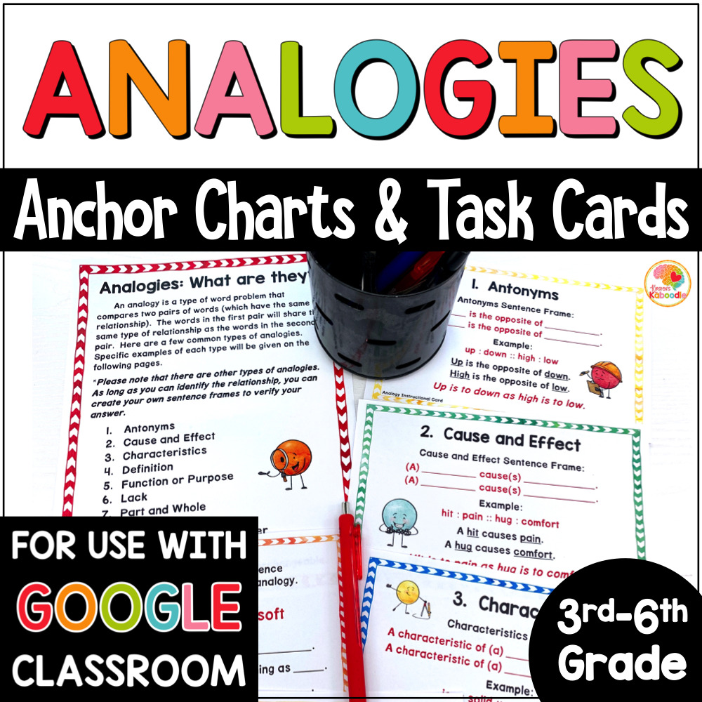 hight resolution of Analogies Task Cards and Anchor Charts