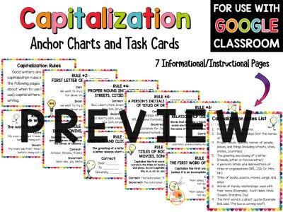 Capitalization Practice Activities Task Cards and Anchor Charts PREVIEW