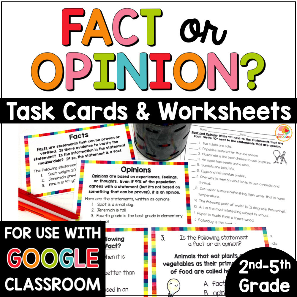 hight resolution of Fact and Opinion Task Cards and Printables