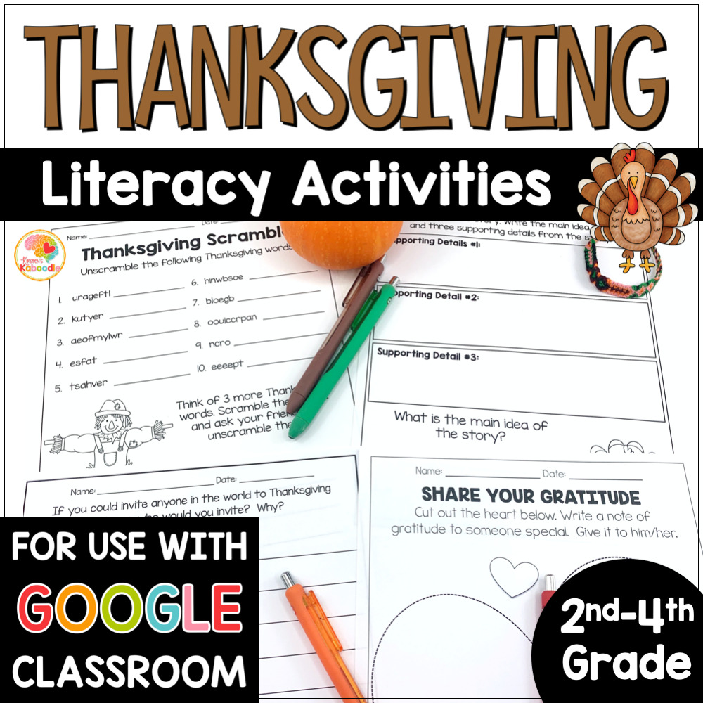 hight resolution of Thanksgiving Literacy Activities - NO PREP
