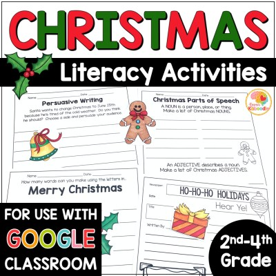 Christmas Literacy Activities Worksheets COVER