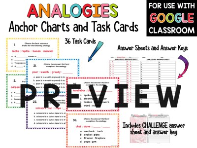 Analogies Task Cards and Anchor Charts Activities PREVIEW