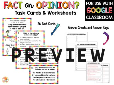 Fact or Opinion Task Cards and Activities PREVIEW