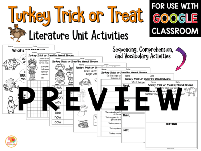 Turkey Trick or Treat Activities for Kids PREVIEW