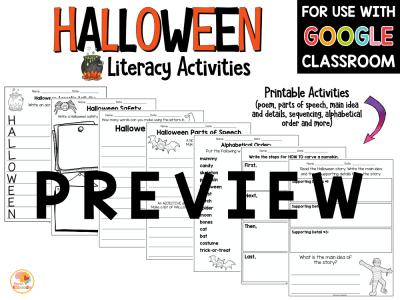 Halloween Literacy Activities PREVIEW