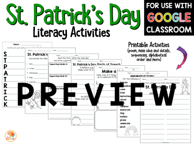St. Patrick's Day Literacy Activities PREVIEW