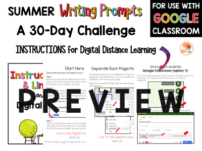 Summer Writing Challenge for 1st and 2nd Grade: Summer Writing Prompts PREVIEW