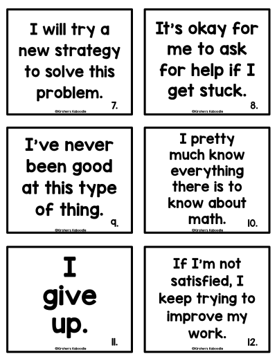 Growth Mindset and Fixed Mindset Sorting Activity