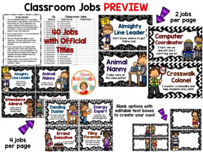 Classroom Jobs - Black and White Theme