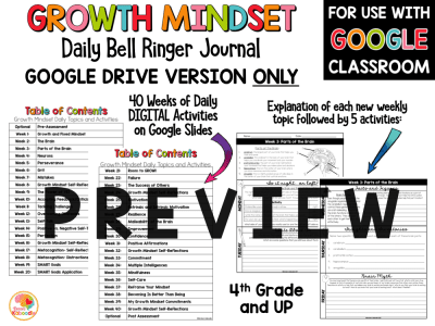 Growth Mindset Bell Ringers for 4th and Up PREVIEW