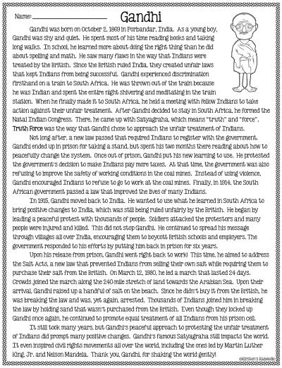 I am Gandhi by Brad Meltzer Literature Unit Activities