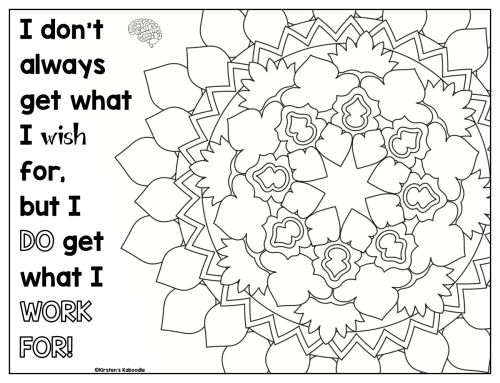small resolution of Growth Mindset Coloring Pages - Affirmations for Upper Grades