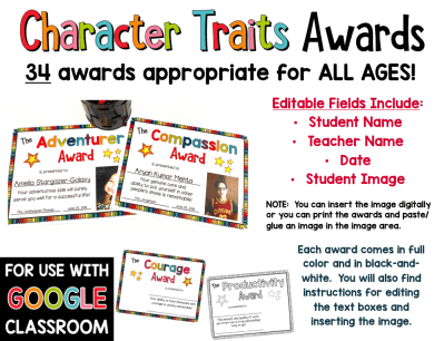 Character Traits Awards with Insertable Image and Distance Learning Option PREVIEW
