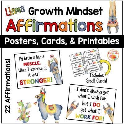 Growth Mindset Posters: Llama Themed Bulletin Board