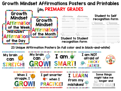 Growth Mindset Posters for Primary Grades