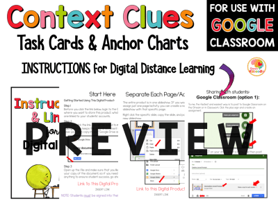 Context Clues Task Cards and Anchor Charts 2nd to 4th PREVIEW