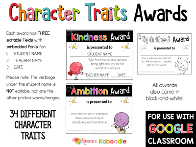 End of year Character Traits Awards Dot Dudes Digital Option PREVIEW