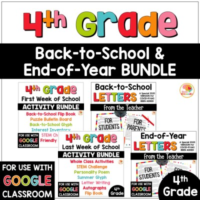 Back to school and end of year activities and letters bundle for 4th grade COVER