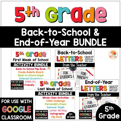 5th grade back to school and end of year activities and letters bundle COVER