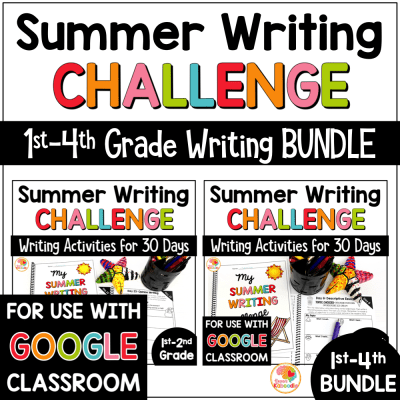 Summer Writing Activities BUNDLE Challenge for 1st, 2nd, 3rd, and 4th Grade COVER
