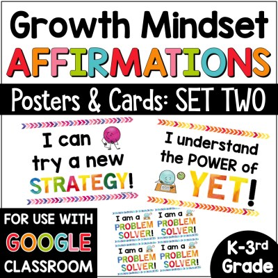 Growth Mindset Affirmations for Primary Grades Set 2 COVER