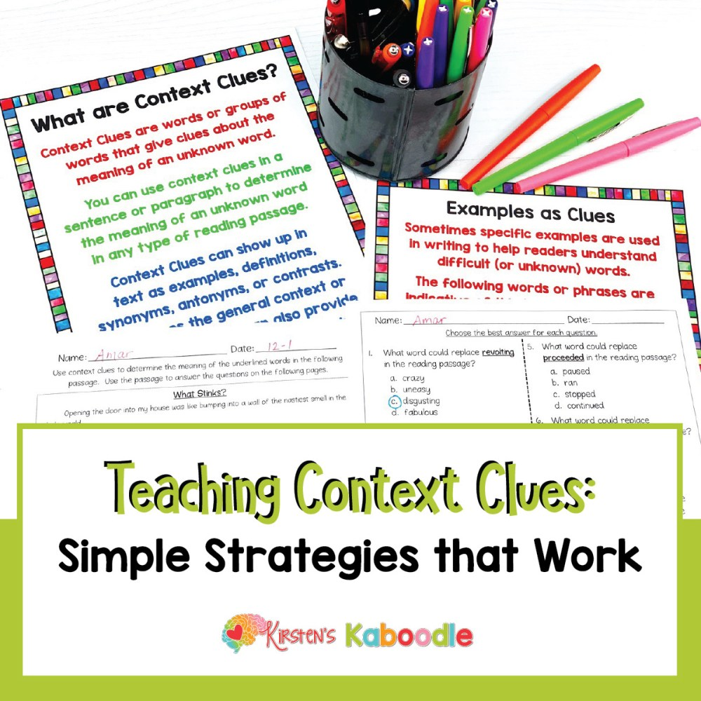 medium resolution of Teaching Context Clues Simple Strategies That Work