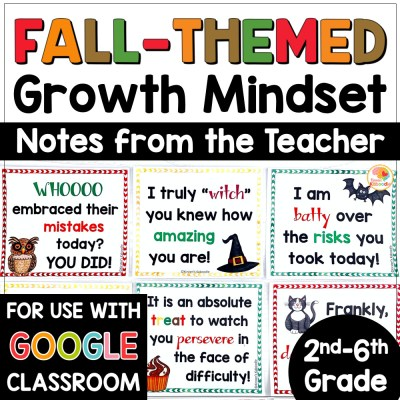 Growth Mindset Notes from the Teacher Fall Theme COVER