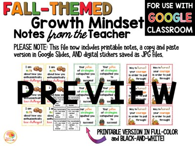 Growth Mindset Notes from the Teacher Fall Theme PREVIEW