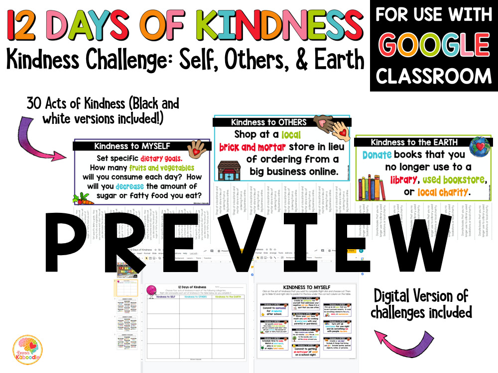 Kindness Challenge 12 Days of Kindness Activities PREVIEW