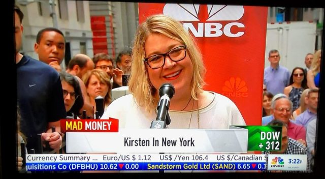 Kirsten Voege of Kirated Communications live on Wall Street, NYC at a live taping of Mad Money Summer on the Street