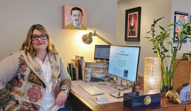 Kirsten Voege of KIRated Communications in her home office. #WFH