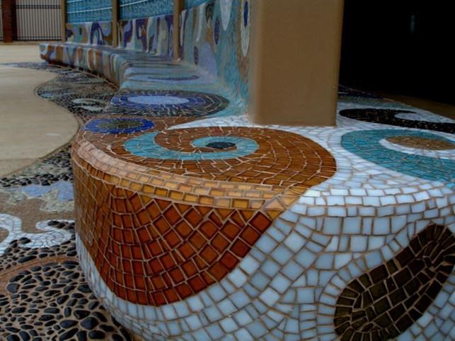 "Kirstin WATER, 2007 & 2011, BBMAC, CORONADO, CAGreen Custom Mosaics, ""Water"" 2008"