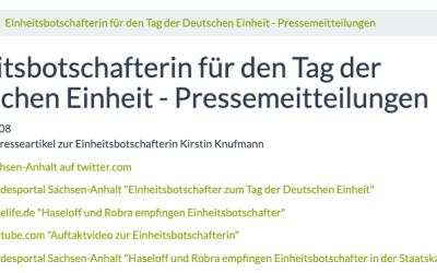 Einheitsbotschafterin für den Tag der Deutschen Einheit – Pressemeitteilungen
