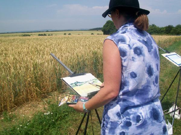 Kirstin White Demonstrating in a field in Dummer