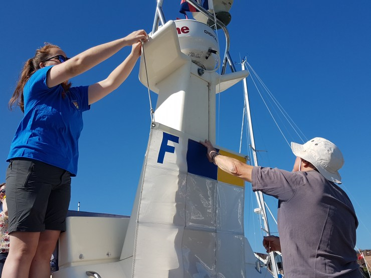 Race officers arranging the flights. British Keelboat Academy Racing.